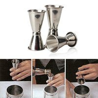 Wholesale metal jigger - Stainless Steel Cocktail Drink Mixer Measuring Cup Double-ended Jigger Measurer Set Bar Tools Wine Pourers Free Shipping