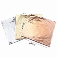 ingrosso arte artigianale materiali-Nuovo 100 fogli oro argento foglia rame foglio di carta doratura arte artigianato materiale decorativo 14x14 cm 3 colori caldi