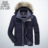 Wholesale Snowimage Down Coats - Snow Mens Fur Parka AFS JEEP Brand Velvet Thick Warm Loose Casual Hooded Coat Winter Snowimage Feather Down Jackets For Men