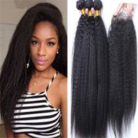 Wholesale Natural Yaki Hair Piece - 8A Grade Brazilian Afro Kinky Straight Hair With Closure 4Pcs Lot Italian Coarse Yaki Lace Top Closure Pieces 4x4 With Human Hair Bundles