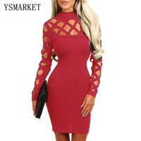 Vestido de Praia Red Hollow-out с длинным рукавом Mock Neck Bodycon Dress Sexy Vestidos Club Mini Dresses Весеннее осеннее платье E22898