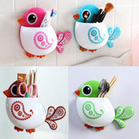 Wholesale Toothbrush Holder Cartoon Family - Wholesale- Super Deal Cute Cartoon Toothbrush Holder Bathroom Set 2015 Toothbrush Holder Set Family Set Wall Mount Rack Bath HYM17&06