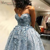 Hoch Niedriges Kleid Eis Blau Kaufen -VARBOO_ELSA Eisblau Spitze High Front Low Back Arabisch Abendkleid Backless Applique 3D Floral Drapierte Party Kleid Schatz Sexy Party Kleid