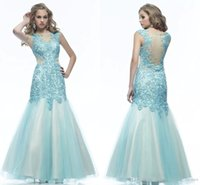 Wholesale Dress Evening Code - Lace Evening Dress Mermaid Bateau Backless Floor Length Satin Sweep Train Crystal Standard Code Prom Dresses Party Evening 2018 ZX37