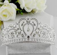 Wholesale Tiaras For 15 - Wholesale Fashion Beaded Rhinestones Wedding Crowns Quinceanera Tiaras for Sweet 15 Years Girl Party Hair Accessories Head Pieces