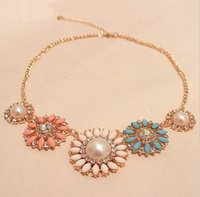 Wholesale Europe Costume Jewelry Wholesale - Wholesale- Romantic Flower Design Necklace Europe and America Beads Sun Flower Choker Necklace Women Costume Jewelry
