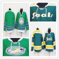 logo vierge jersey de hockey achat en gros de-En gros des Golden Seals de Californie 1970-71 Hommes Maillots Blank Vintage CCM Accueil Green Hockey Hockey sur glace Jersey 100% Logos cousus