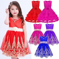 Wholesale Cap Chinese For Wedding - 2017 Fashion Girls Wedding Princess Dresses Embroidered Kids Dress Red Pink Blue Color with Bow for Party