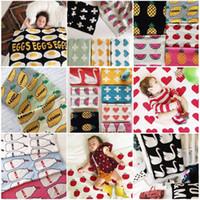 Wholesale Spring Patchwork Bedding - 30 Designs NEW Cartoon Knitting Blanket 90*110cm Patterned Sofa Bed Throw Blanket Kid Adult Warm Blanket Custom Wholesale