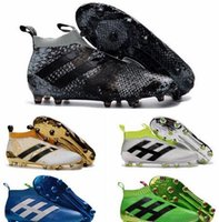 Wholesale Original Soccer Cleats - 2016 Mens laceless Youth purecontrole FG AG ace 16 soccer cleats Original High Ankle Kids Boy football soccer shoes boots High Quality Gold