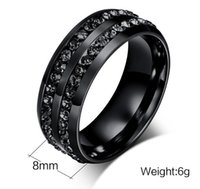 Wholesale Cheap Black Mens Wedding Bands - 8mm Mens Black Stainless Steel Ring with black stones around inlaying wholesales and cheap