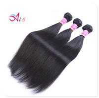 tissage de la tête complète péruvienne achat en gros de-7A Paquet de cheveux humains 12-28 pouces Péruvien Malaisien Non traité Silky Straight Straight Weave 3Bundles / lot Full Head Hair Extensions