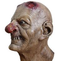 rostos zombis para halloween venda por atacado-Atacado-Zombie Máscara Realista Horror Bloody Full Face Head Máscaras de Látex Halloween Traje Adulto Assustador Masquerade Partido Cosplay Adereços