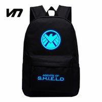 Wholesale marvel canvas - Wholesale- American TV Show Aegis Bureau Marvel Agents Canvas Luminous Printing Backpack School Bags For Teenagers Rucksack Children Gifts