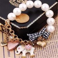 Wholesale bow bracelets ring resale online - Retro Imitation Pearl Elephant Bracelet Rings Bow Heart Bracelets Fashion Beaded Jewelry for Lady Christmas Gift