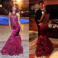 Wholesale Mermaid Style Cocktail Dresses - Backless See Through Prom Dresses South African Style Dark Red Handmade Flowers Sequins Appliques Mermaid Evening Gowns Hot Cocktail Dress