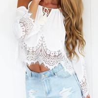 Wholesale Halter Neck Shirts - Wholesale-2016 Summer Boho Lace Tshirt sexy Off Shoulder T-Shirt Women Halter Top Cropped Femme Loose Chiffon T Shirt Women Tops S-XL W3