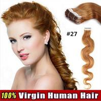 dalgalı saç uzatma atkıları toptan satış-BANT SAÇ DALGA 18 '' - 26''inch 40pcs / 100gram PU Deri atkı% 100 Gerçek İnsan Saç Uzantıları Bant iz yok