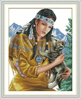 Wholesale canvas painting wolves resale online - Beauty and wolf pup handmadel diy painting counted print on canvas needlework embroidery Sets DMC CT CT Cross Stitch kits