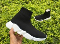 Unisex speed court - 2017 Women Mens Speed Trainer stretch knit Mid Sneakers BL Arena Flats High Top Kanye West Designer Shoes Trainers Casual Sports Shoes