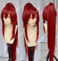 Wholesale erza scarlet - New Fairy Tail Erza Scarlet Dark Red Cosplay Party Ponytails Full Hair Wig GU20