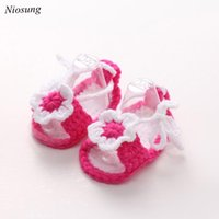 Wholesale Knitted Crib Shoes Girls - Wholesale- Crib Crochet Casual Baby Girls Handmade Knit Sock Flower Infant Shoes Soft Sole Sneaker Toddler Shoes