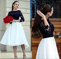 Wholesale Vintage Bridesmaid Dresses Jewels - Lace Vintage 2017Arabic Bridesmaid Dresses Crew 3 4 Long Sleeves A-line Satin Evening Dresses Tea Length Party Formal Gowns
