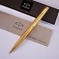 gravierte silberne kisten großhandel-Gold Silber Metall Parker Kugelschreiber für Business Schreiben Bürobedarf Geschenkbox Anpassen Gravieren Logo Kostenloser Versand caneta