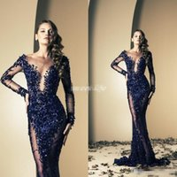 Wholesale Side Split Bling Evening Dress - Ziad Nakad 2017 Celebrity Dresses Mermaid Royal Blue Bling Sequins See Through With Long Sleeve Sweep Train Evening Gowns Long Prom Dresses