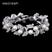 Barato Pulseiras De Cristal Dhgate-Dhgate Simulated Pearl Bracelets for Women Silver Color Link Chain Crystal Bridal Wedding Jewelry Pulseiras Bangles SL089