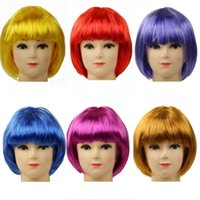 Wholesale Short Dark Pink Cosplay Wig - Party Universal Student Cosplay Color Wig Graduation Bar Club Performance Color Wig Decoration Short Color Wig Mix Order Allowed