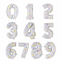 Wholesale Heart Print Balloons - 40 inch number 1 foil balloons large pink blue Air digit printed heart balloon birthday wedding decoration ballon party supplies