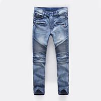 ingrosso i jeans estivi fanno gli uomini-2017 nuovi jeans da uomo slim primavera ed estate pantaloni patch buco nella piega jeans locomotiva B501