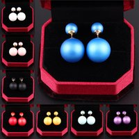 Wholesale Color Ball Earring Studs - New Arrival Hot Design Brand Candy Color Faux Pearl Ball Double simulated Pearl Earrings Jewelry for Women M11