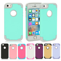 Wholesale Iphone 5s Bumper Cases - Shockproof Hybrid Color Heavy Duty 2 in 1 Defender Bumper Case Cover For iPhone 5 5S SE