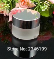 Wholesale Cosmetic Jars Black Lids - Wholesale- 30G 30ML Glass Cream Jar, Frost Glass Jar with Silver Cap, Black And Gold Color Lid, Glass Cosmetics Packing Jar, 20pcs lot
