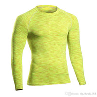 Wholesale Black Tunic Men - PRO Fitness Clothes Tights Long Sleeve Running Stretch Quick Dry T-Shirt Breath Tunic Collar