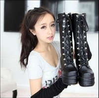 Wholesale Lace Up Punk High Platform - US4-11 Hot Women Lace Up Side Zipper Wedge Platform Punk Gothic Rock Mid Calf Boots New High Heel Pumps 2Colors YAN3864