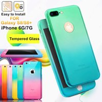 Wholesale Iphone Style Case Hard - Colorful Rainbow Style 360 Full Protection Front Back Armor Protection Gradient Color Free Toughened Glass Flim Screen Protector Hard Back