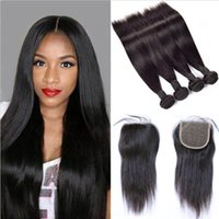 Wholesale Wholesale Quality Weaves - Brazilian Straight Hair Weaves 4 Bundles with Closure Free Middle 3 Part 7A Quality Double Weft Human Hair Extensions Dyeable 80g pc