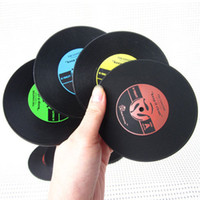 Wholesale Bamboo Albums - Wholesale-2016 New Retro Vinyl CD Album Record Drinks Coasters Bar Table Cup Glass Skid Mat Holder