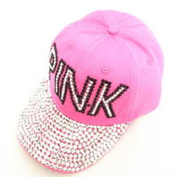 Wholesale Girls Denim Baseball - Baseball Cap Women Pink Rhinestone Caps Swag Diamond Point Pink Letters Denim Casual Snapback Hats Girls Hat Rhinestone Print