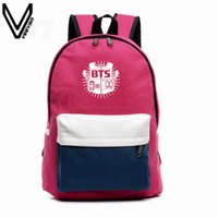 Wholesale Super Junior Bags - 2016 BTS Backpacks EXO Bags B2ST GOT7 B1A4 B.A.P CNBLUE Canvas Should Bag Super Junior Backpack School Bags For Teenagers Fans