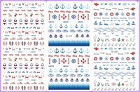 Wholesale Nail Art Stickers Anchor - Wholesale- 3 PACK  LOT WATER TRANSFER DECAL NAIL ART NAIL STICKER MARINE BEACH ANCHOR BOAT FISH YE318-320