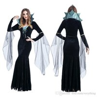 Wholesale Sexy Halloween Witch Hat - Halloween Witch Costume For Women Sexy Fashion Swallow Tail Braces Dress With Black Witch Hat Carnival Party Costume