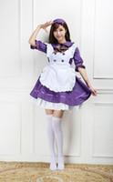 disfraz gótico lolita anime al por mayor-Venta caliente 2017 Púrpura / Blanco Mitad de Manga Anime Maid Uniforme Cosplay Traje Gótico Lolita Mini Vestidos