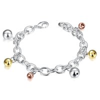 Wholesale Fall Charm Bracelet - top sale Color falling beads 925 silver charm bracelet 8inchs EMB430,women's sterling silver plated jewelry bracelet