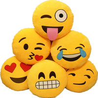 Wholesale Movies Office - Bed Home Office Car Emoji Smiley Smile Emoticon Yellow Round Cushion Pillow Stuffed Plush Doll Soft Toy 1pc