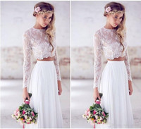 Wholesale Cheap Fast Wedding Dresses - 2017 Cheap Beach Wedding Dresses Long Sleeves Lace Chiffon Floor Length Custom Made Two Pieces Boho Wedding Gowns Fast Shipping