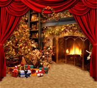 Wholesale Fireplace Gifts - Red Curtain Stage Photo Backdrops Brown Texture Floor Gift Boxes Indoor Fireplace Christmas Tree Photography Backgrounds Studio Props